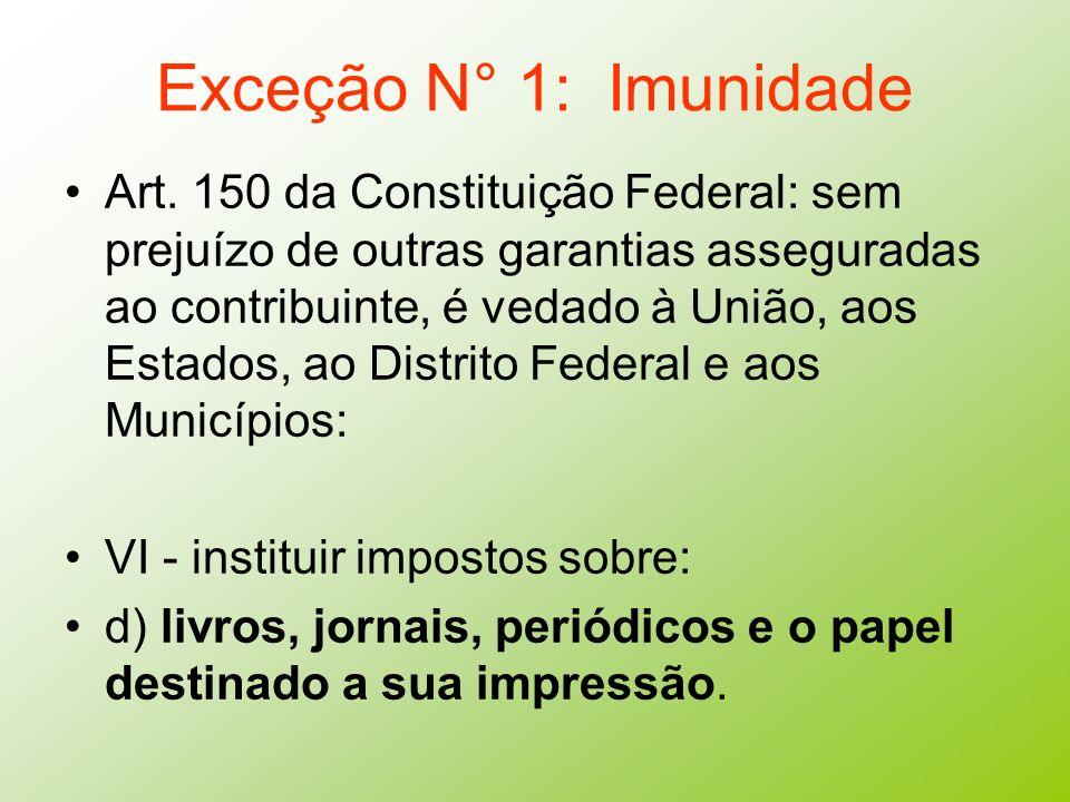 Exceção N° 1: Imunidade