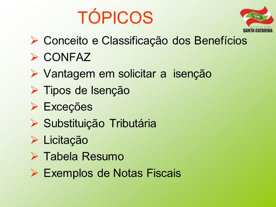 TÓPICOS Conceito e Classificação dos Benefícios CONFAZ
