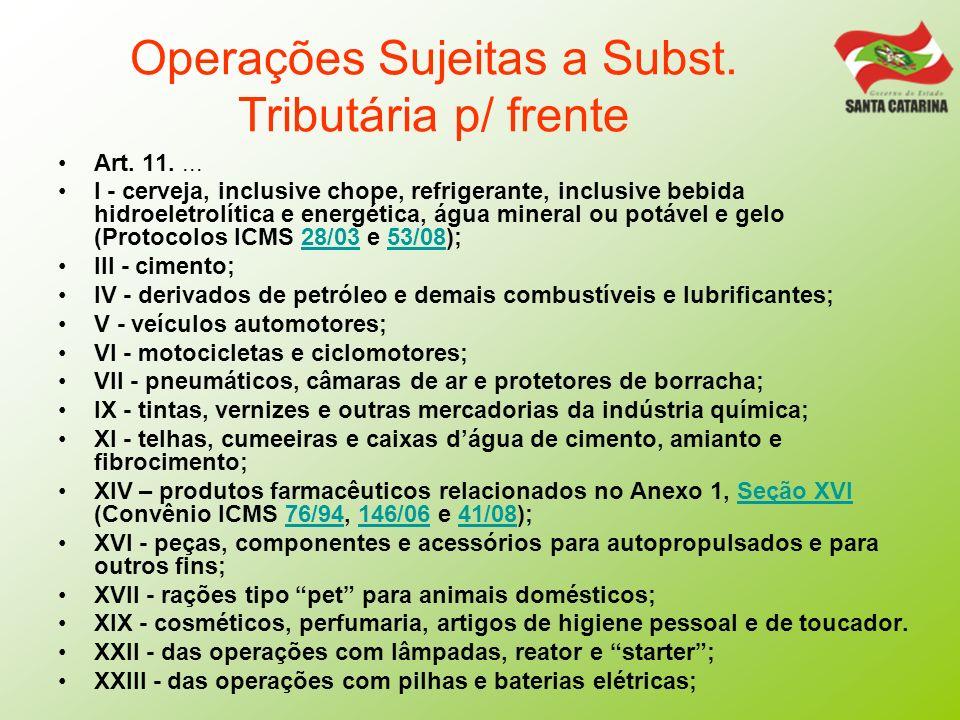 Operações Sujeitas a Subst. Tributária p/ frente