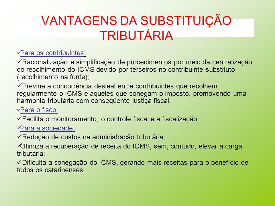 VANTAGENS DA SUBSTITUIÇÃO TRIBUTÁRIA