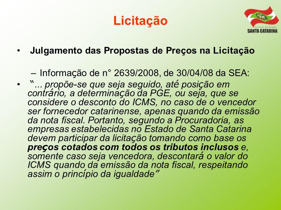 Licitação Julgamento das Propostas de Preços na Licitação