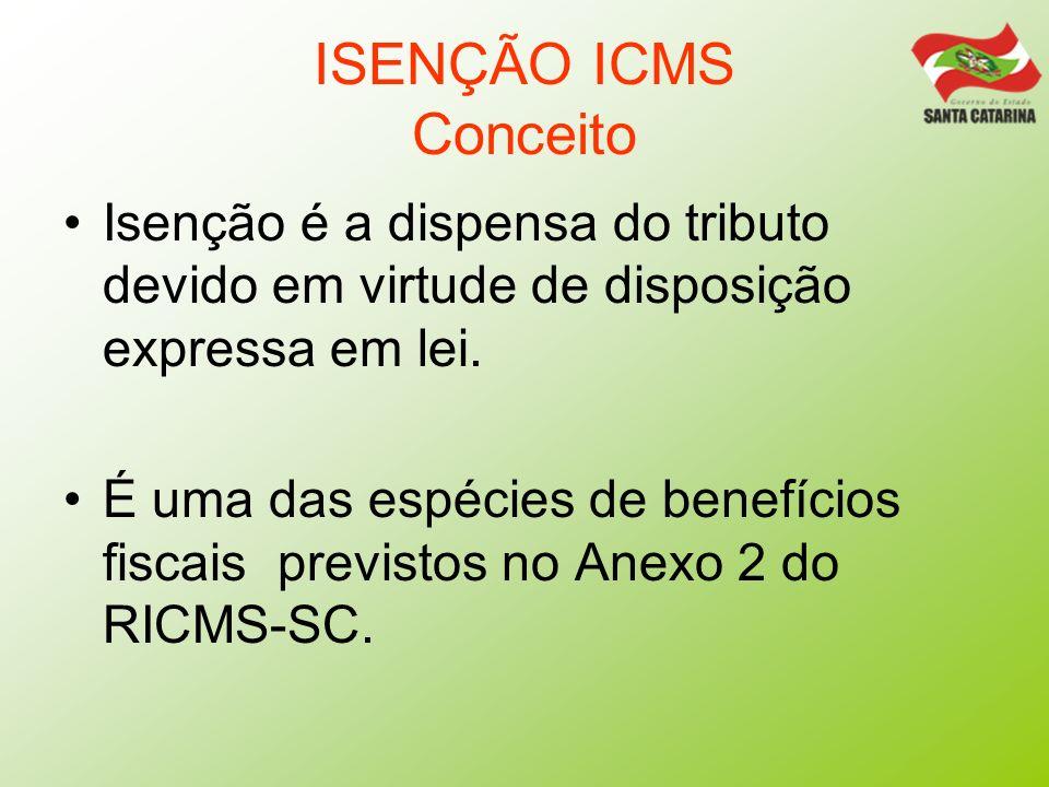 ISENÇÃO ICMS ConceitoIsenção é a dispensa do tributo devido em virtude de disposição expressa em lei.