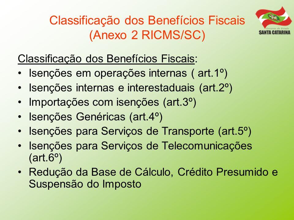 Classificação dos Benefícios Fiscais (Anexo 2 RICMS/SC)