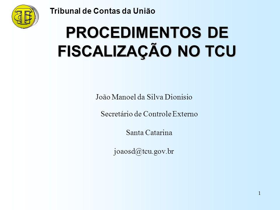 PROCEDIMENTOS DE FISCALIZAÇÃO NO TCU