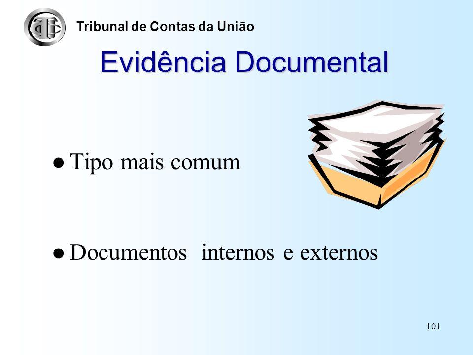 Evidência Documental Tipo mais comum Documentos internos e externos