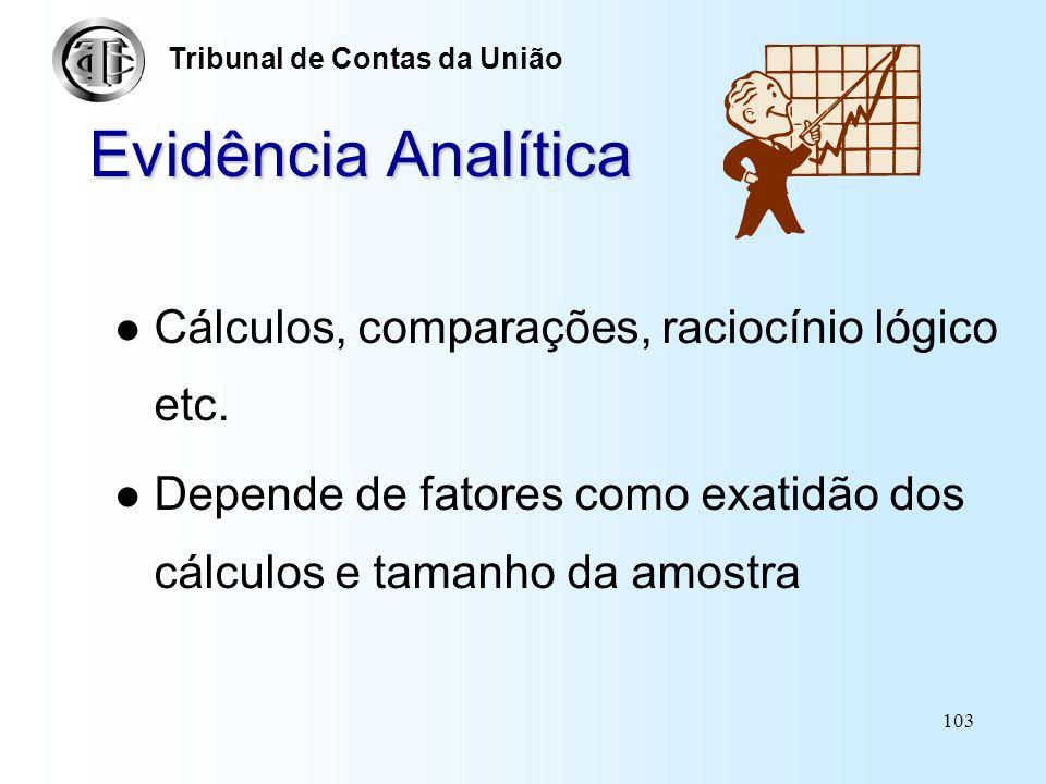 Evidência Analítica Cálculos, comparações, raciocínio lógico etc.