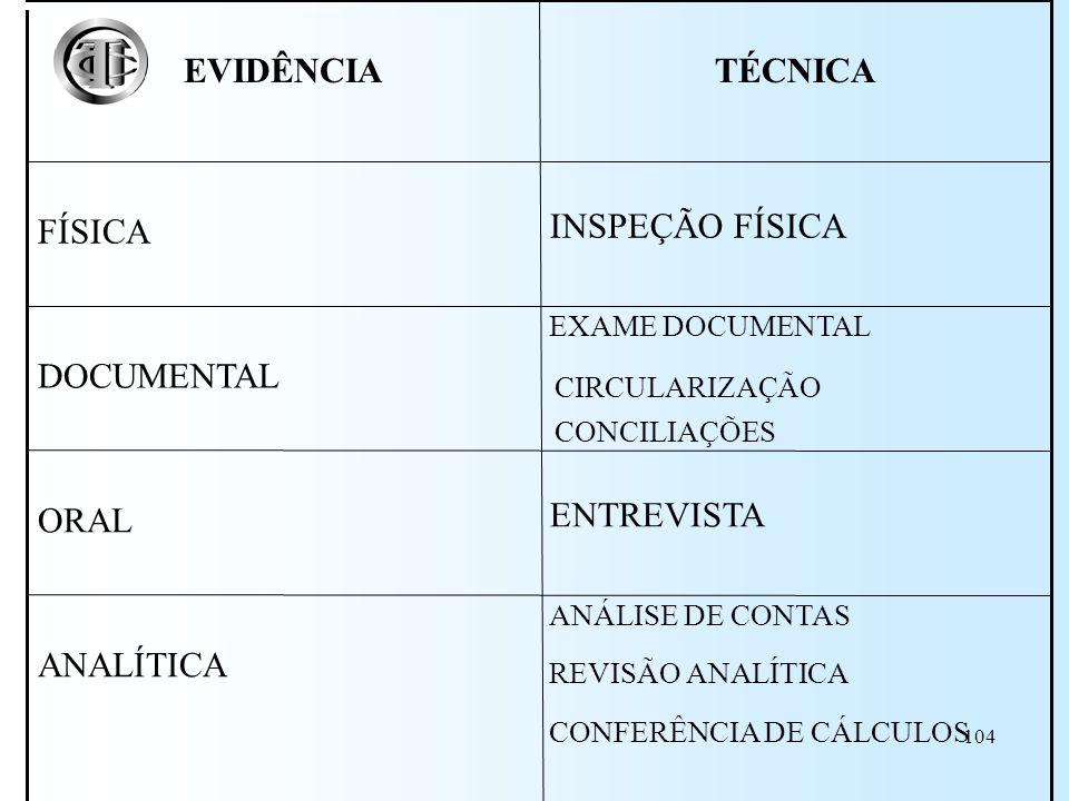 ANALÍTICA ENTREVISTA ORAL DOCUMENTAL INSPEÇÃO FÍSICA FÍSICA TÉCNICA