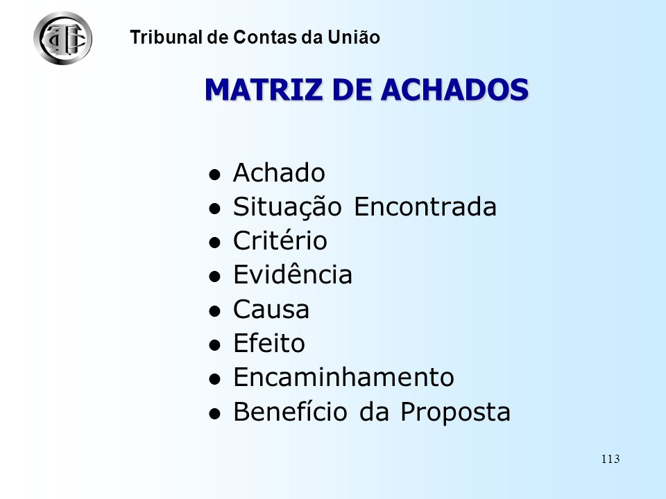 MATRIZ DE ACHADOS Achado Situação Encontrada Critério Evidência Causa