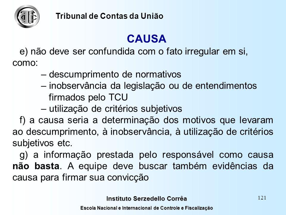 CAUSA e) não deve ser confundida com o fato irregular em si, como:
