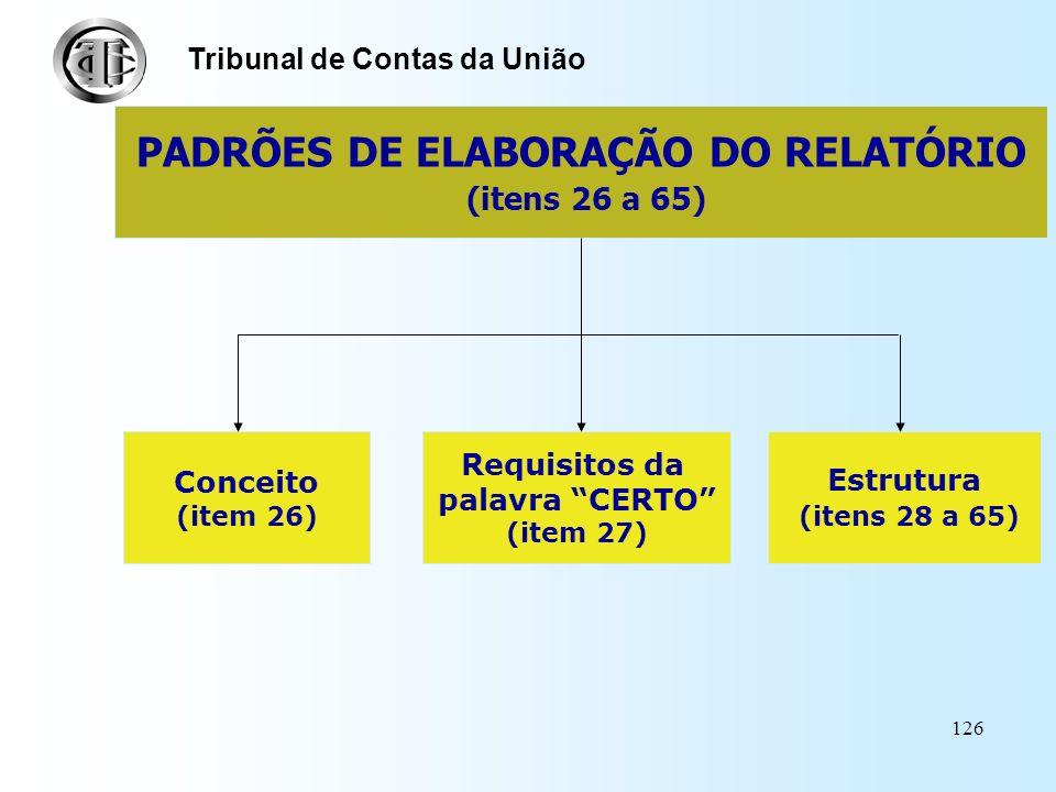 PADRÕES DE ELABORAÇÃO DO RELATÓRIO