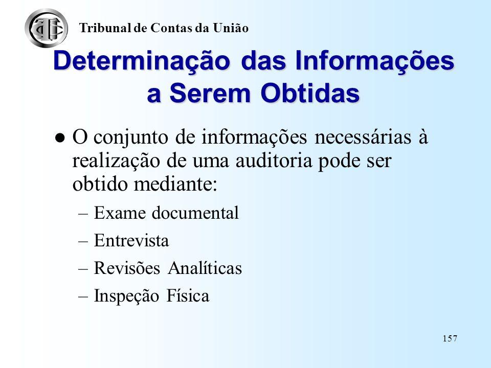 Determinação das Informações a Serem Obtidas
