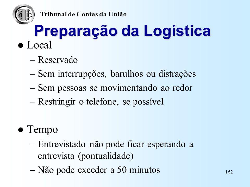 Preparação da Logística