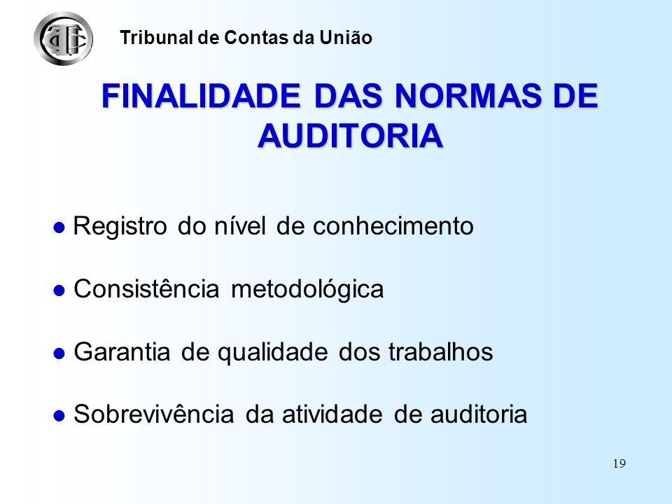 FINALIDADE DAS NORMAS DE AUDITORIA