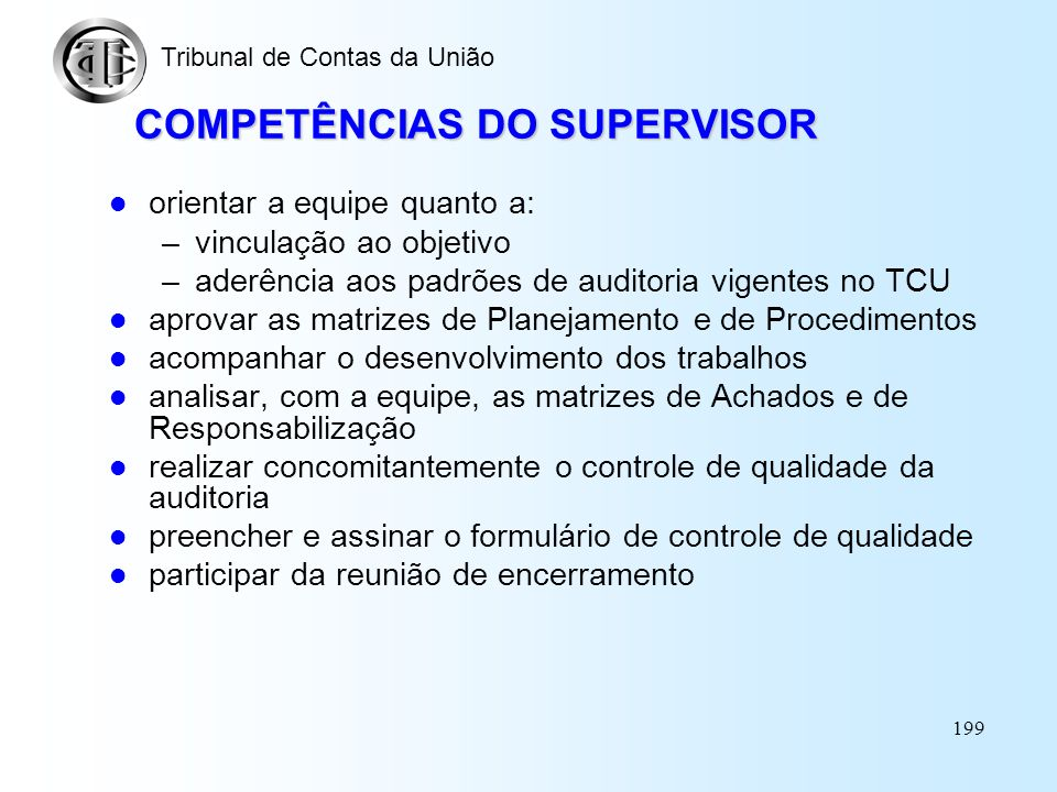 COMPETÊNCIAS DO SUPERVISOR