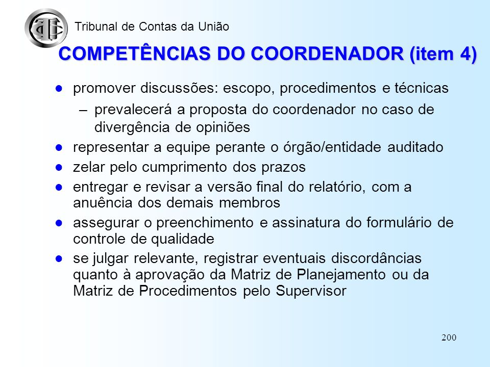 COMPETÊNCIAS DO COORDENADOR (item 4)