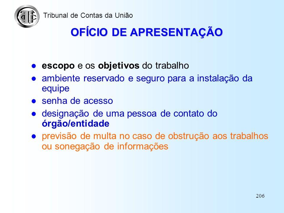 OFÍCIO DE APRESENTAÇÃO