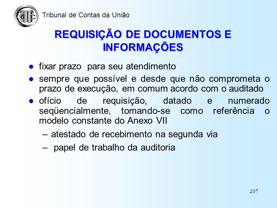 REQUISIÇÃO DE DOCUMENTOS E INFORMAÇÕES