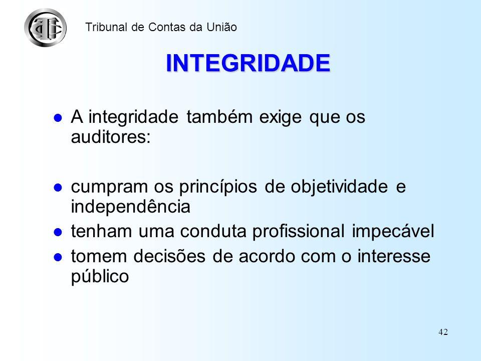 INTEGRIDADE A integridade também exige que os auditores: