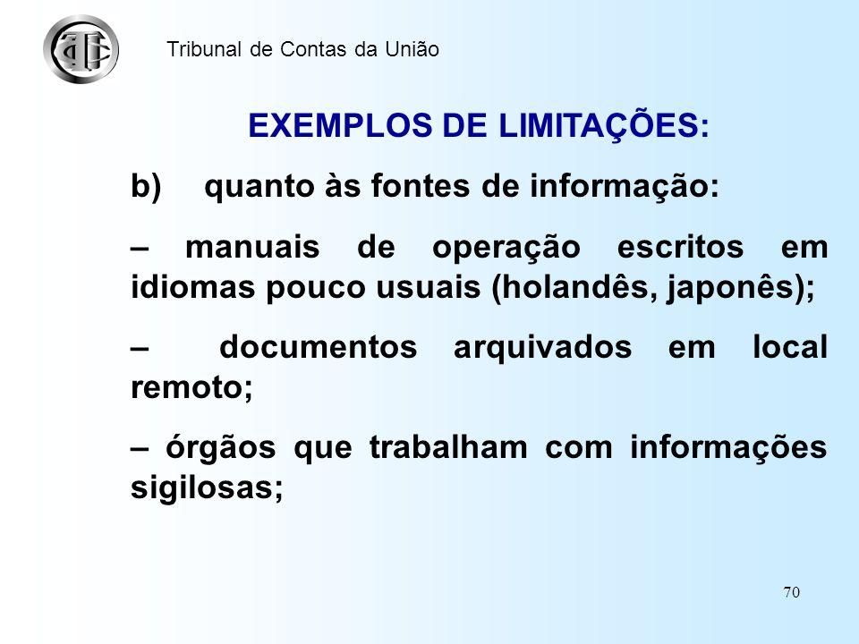 EXEMPLOS DE LIMITAÇÕES: