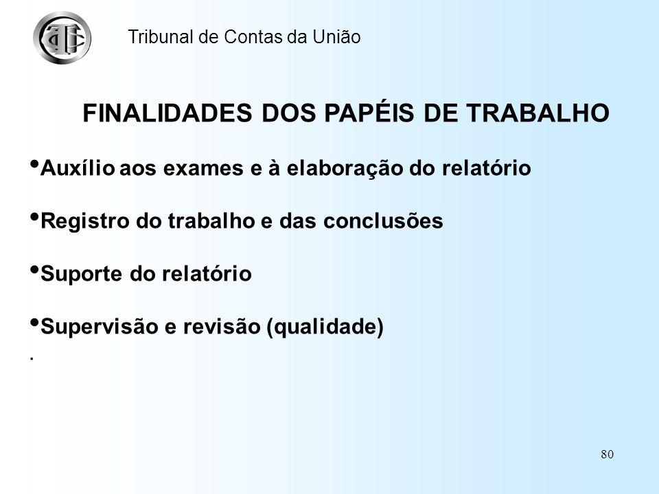 FINALIDADES DOS PAPÉIS DE TRABALHO