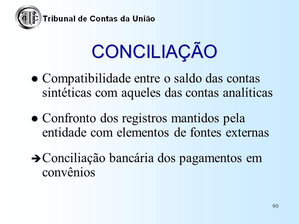 CONCILIAÇÃO Compatibilidade entre o saldo das contas sintéticas com aqueles das contas analíticas.