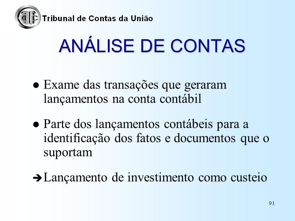 ANÁLISE DE CONTAS Exame das transações que geraram lançamentos na conta contábil.