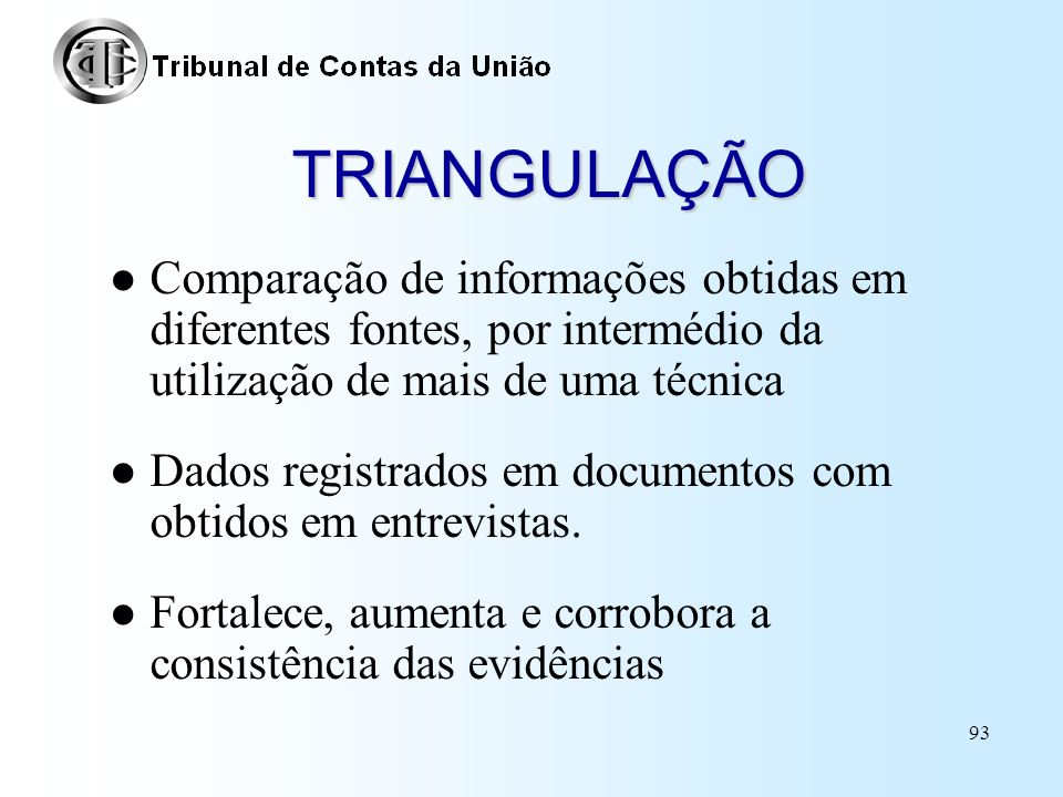 TRIANGULAÇÃO Comparação de informações obtidas em diferentes fontes, por intermédio da utilização de mais de uma técnica.