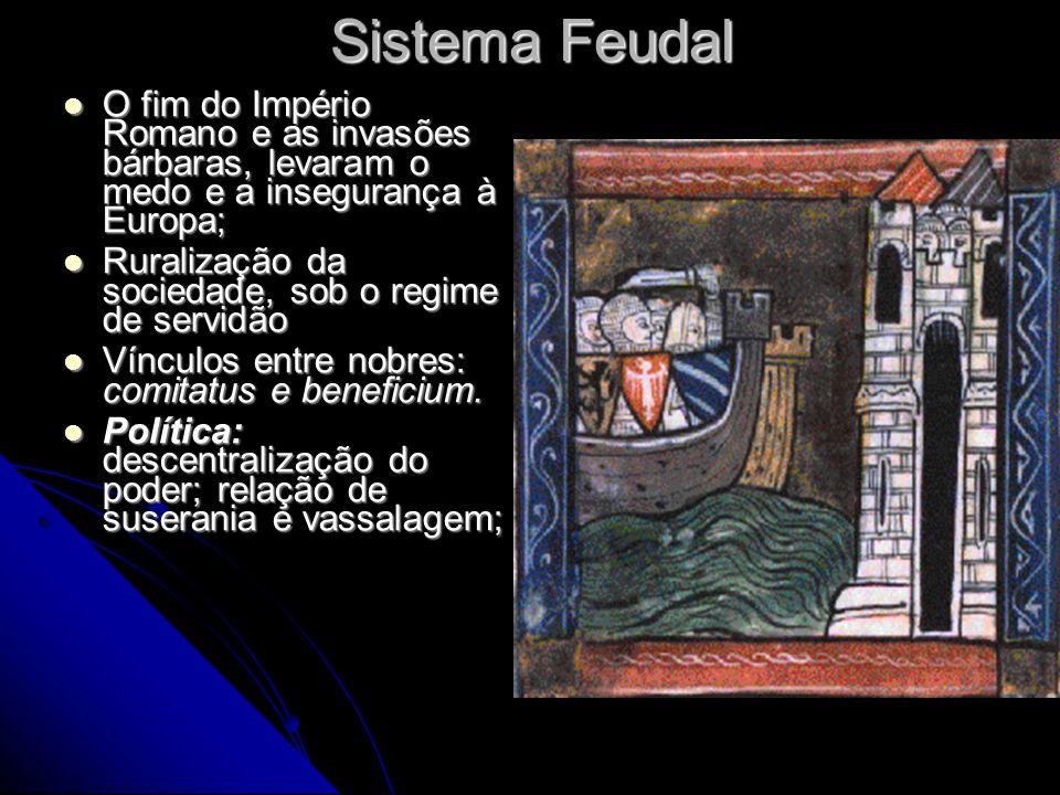 Sistema Feudal O fim do Império Romano e as invasões bárbaras, levaram o medo e a insegurança à Europa;