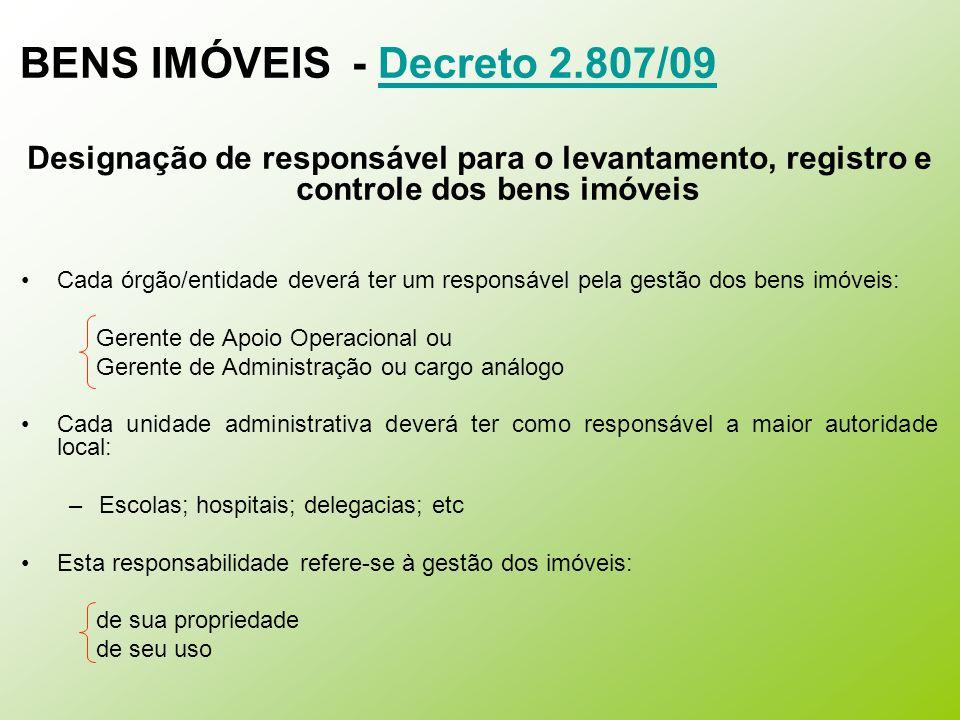 BENS IMÓVEIS - Decreto 2.807/09