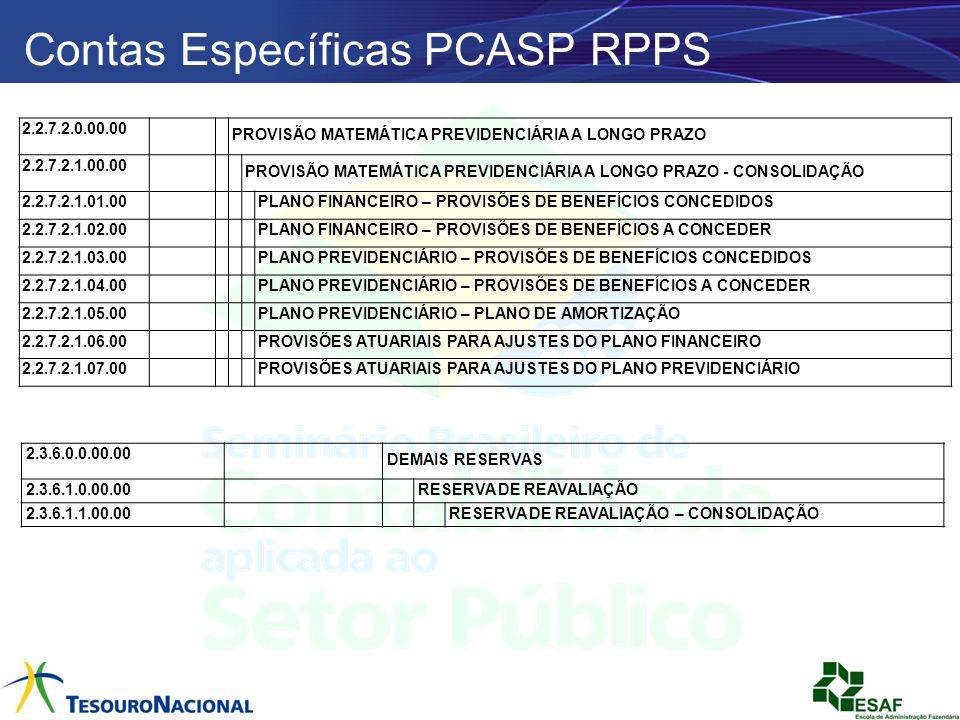 Contas Específicas PCASP RPPS
