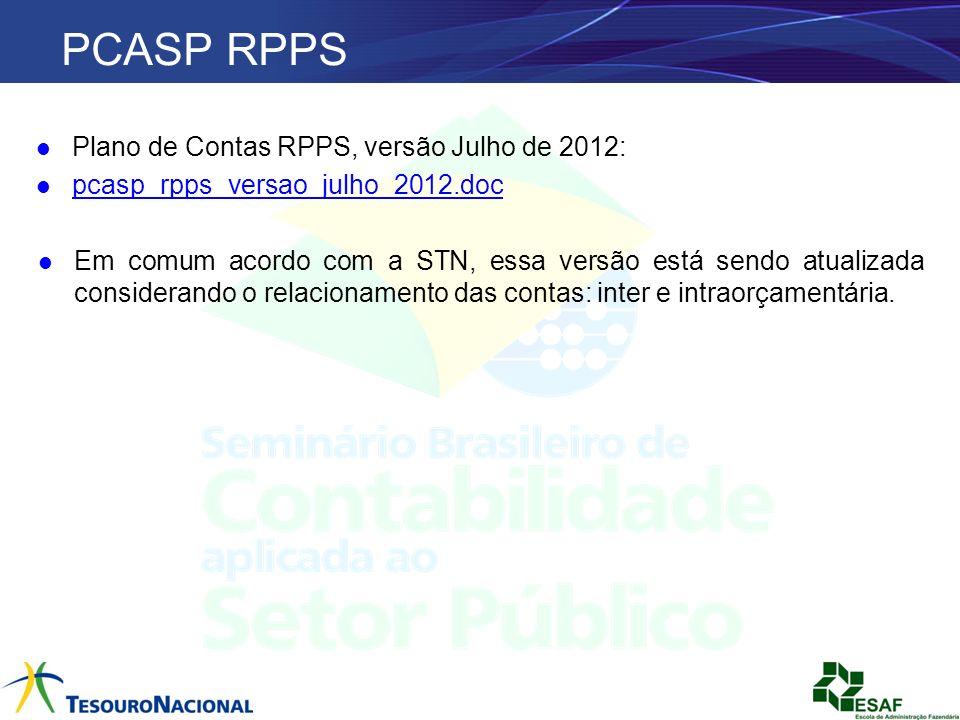 PCASP RPPS Plano de Contas RPPS, versão Julho de 2012: