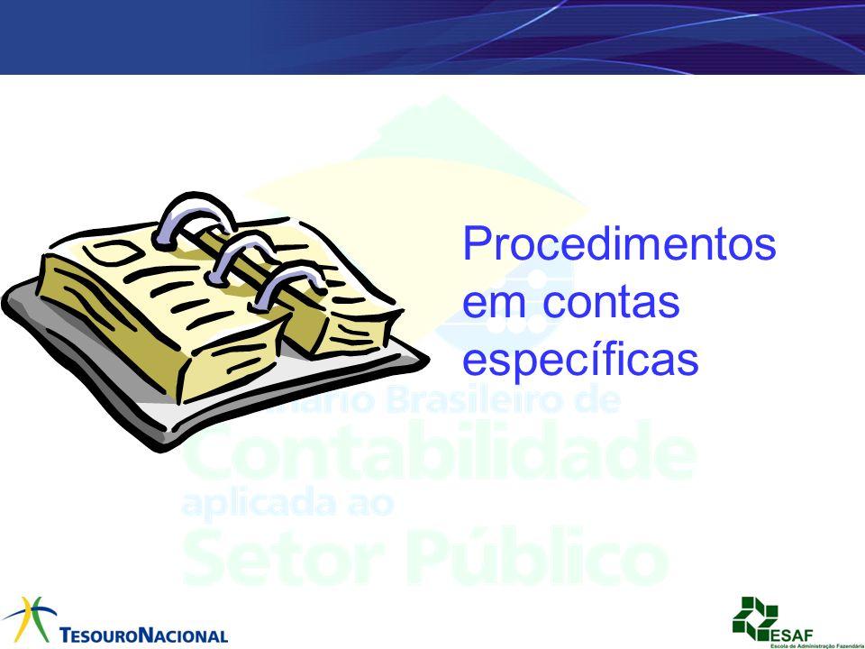 Procedimentos em contas específicas