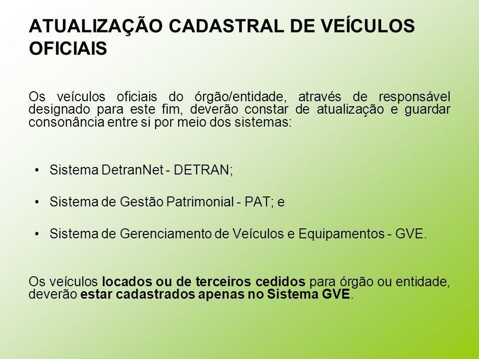 ATUALIZAÇÃO CADASTRAL DE VEÍCULOS OFICIAIS