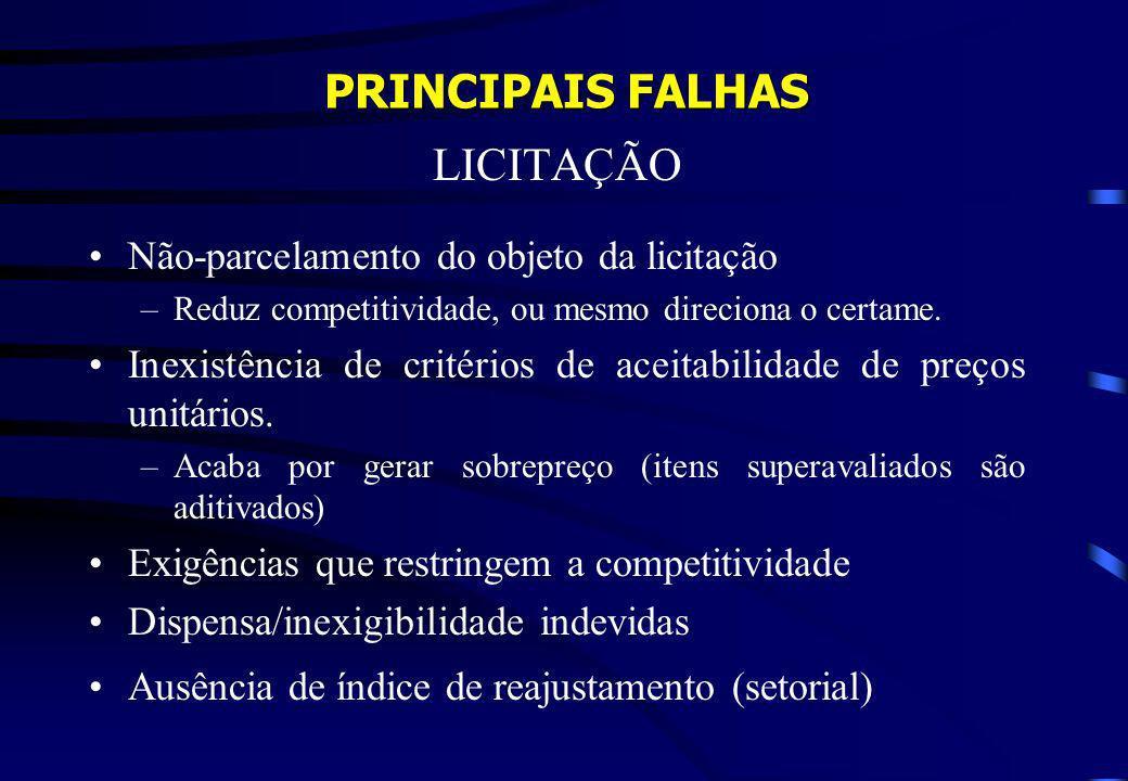 PRINCIPAIS FALHAS LICITAÇÃO Não-parcelamento do objeto da licitação