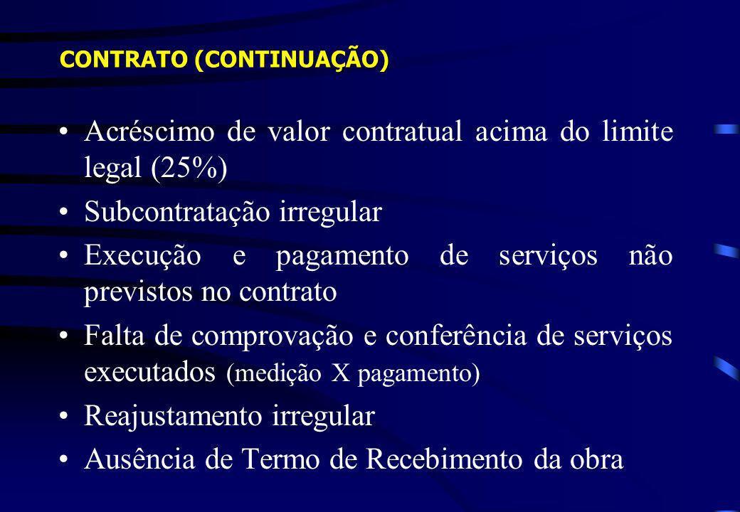 Acréscimo de valor contratual acima do limite legal (25%)