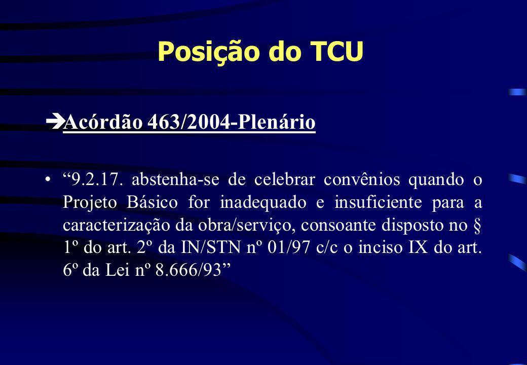 Posição do TCU Acórdão 463/2004-Plenário