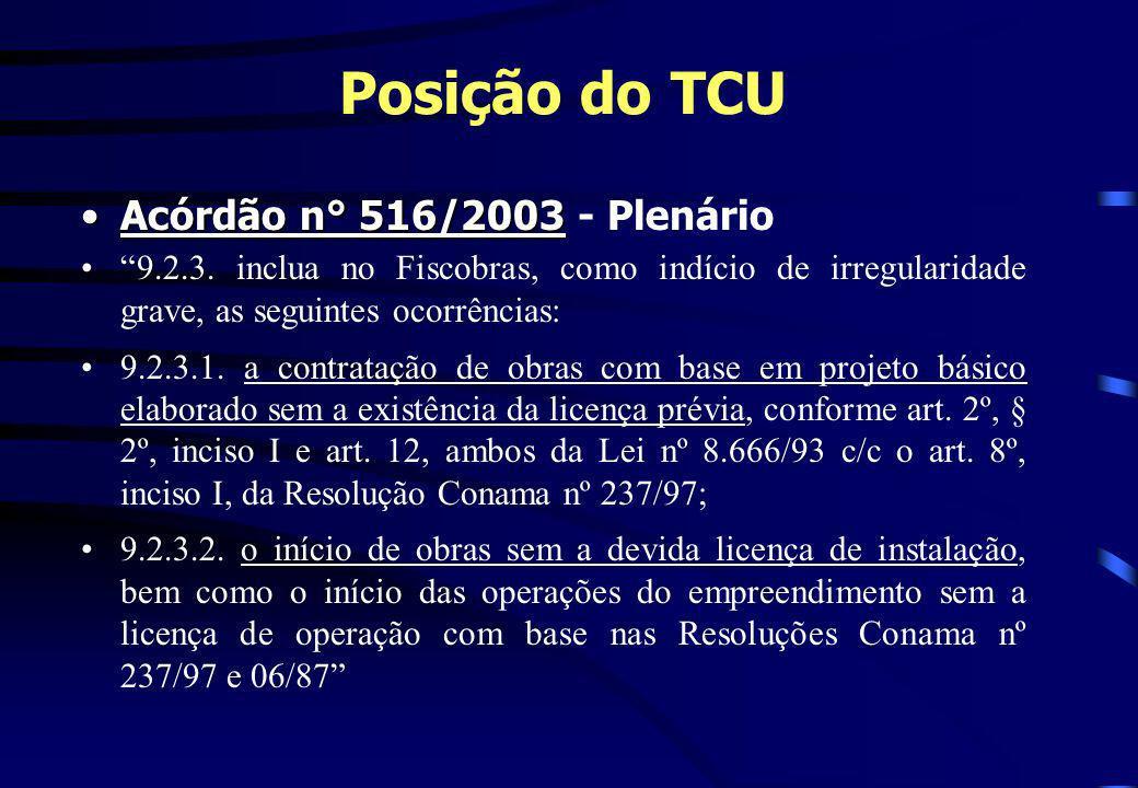 Posição do TCU Acórdão n° 516/2003 - Plenário