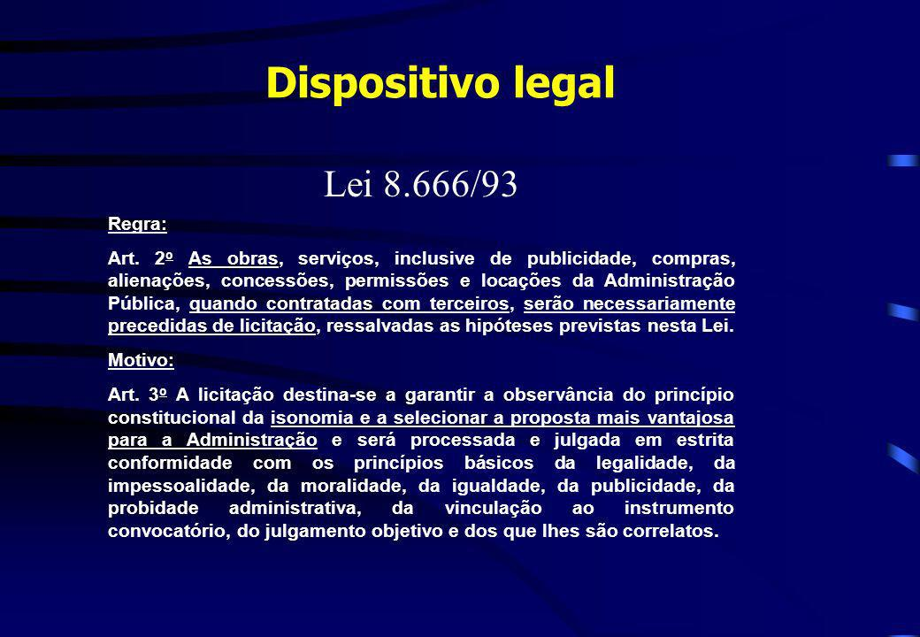 Dispositivo legal Lei 8.666/93 Regra: