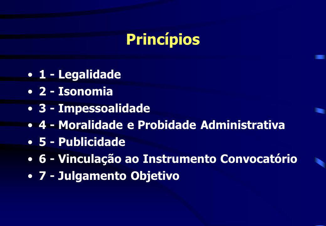 Princípios 1 - Legalidade 2 - Isonomia 3 - Impessoalidade