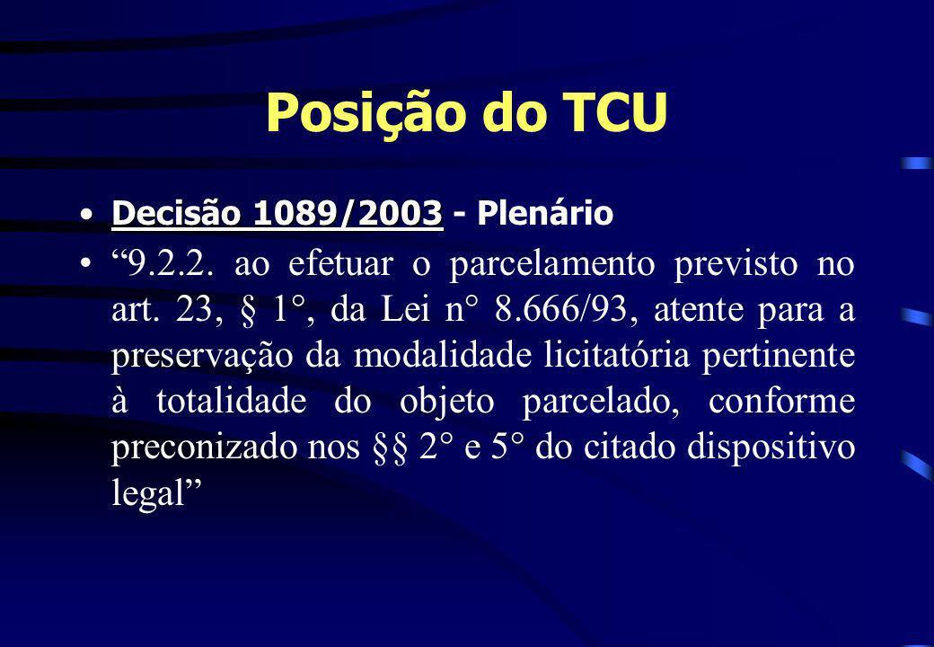 Posição do TCU Decisão 1089/2003 - Plenário.