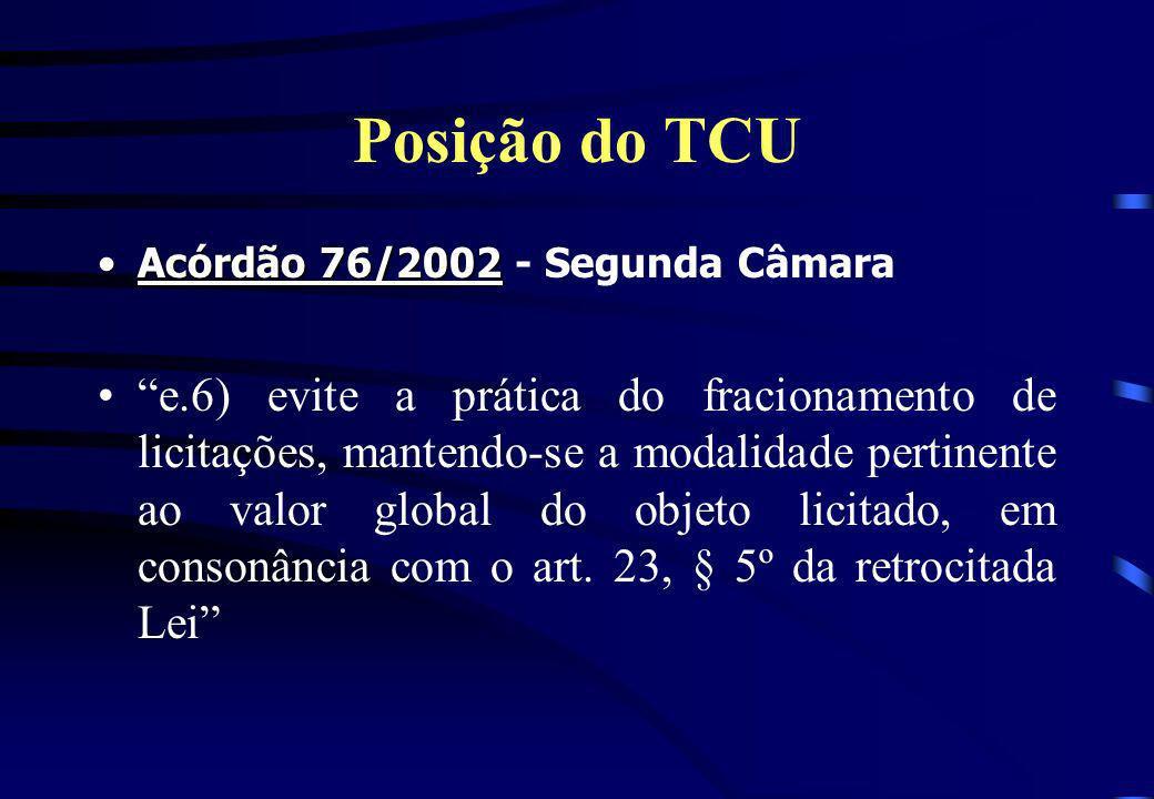 Posição do TCU Acórdão 76/2002 - Segunda Câmara.
