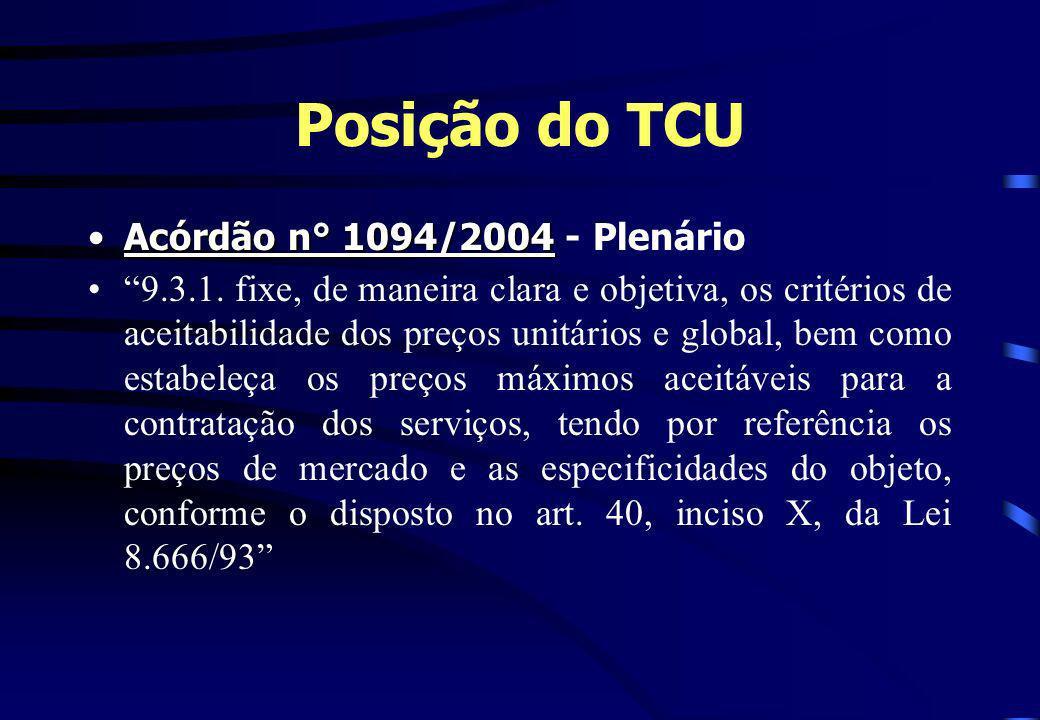 Posição do TCU Acórdão n° 1094/2004 - Plenário