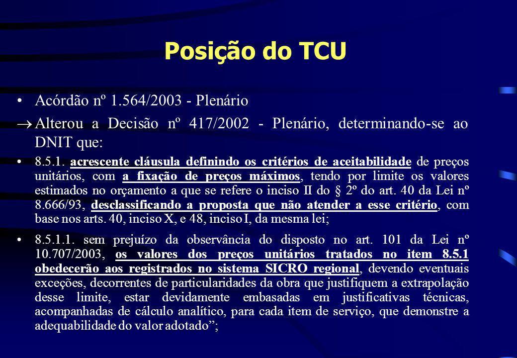 Posição do TCU Acórdão nº 1.564/2003 - Plenário