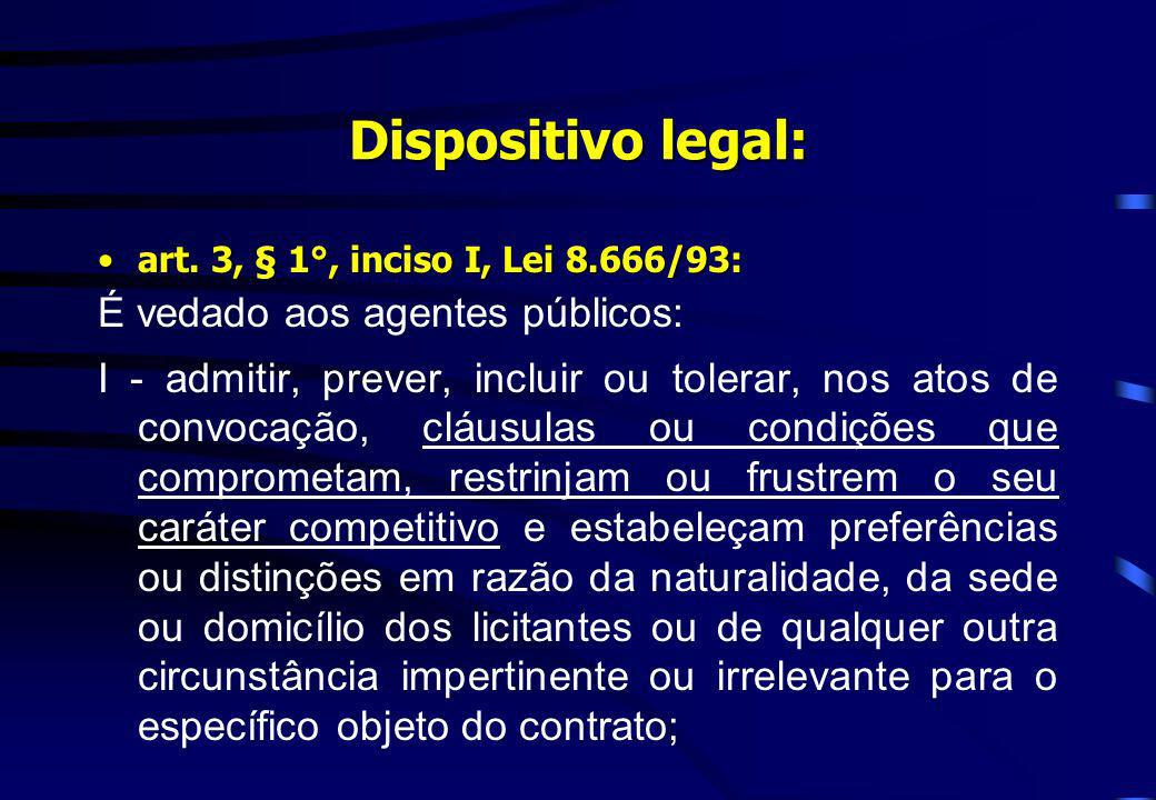 Dispositivo legal: É vedado aos agentes públicos: