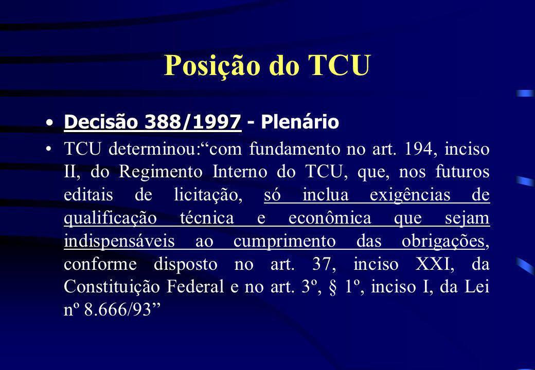 Posição do TCU Decisão 388/1997 - Plenário