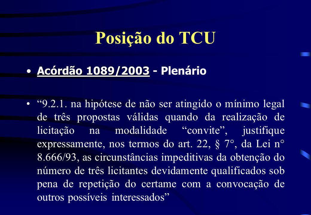 Posição do TCU Acórdão 1089/2003 - Plenário