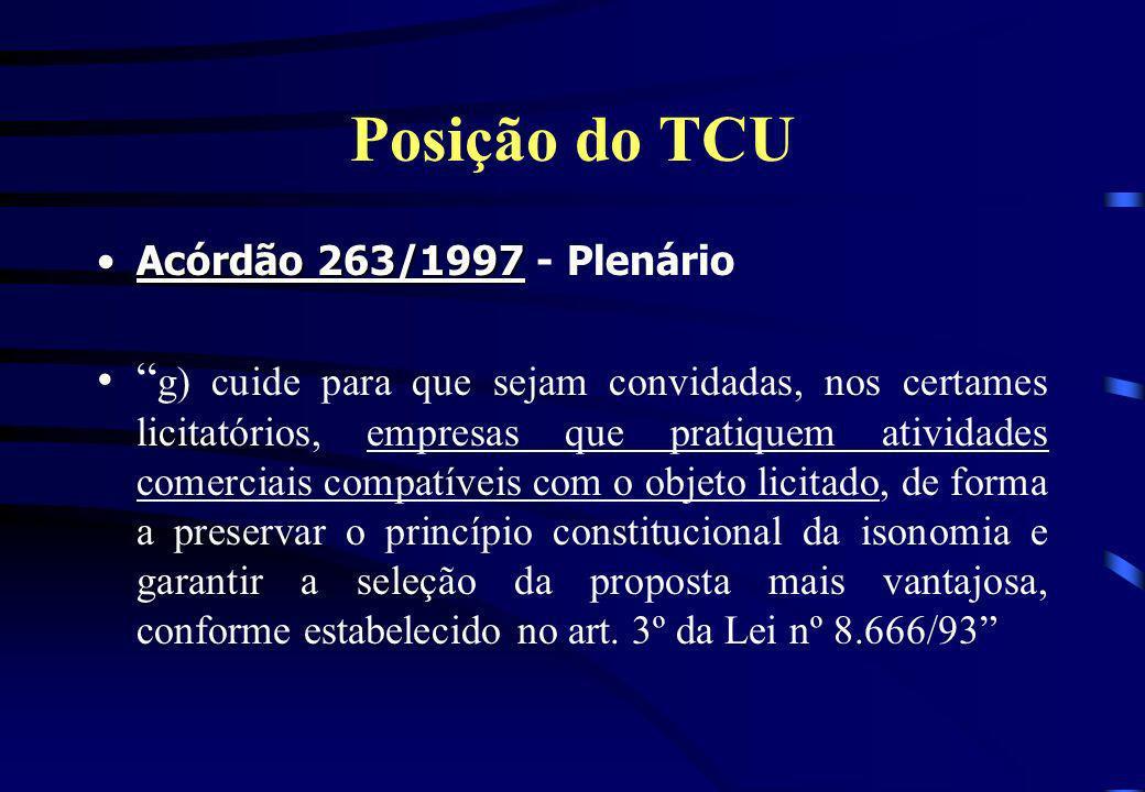 Posição do TCU Acórdão 263/1997 - Plenário.