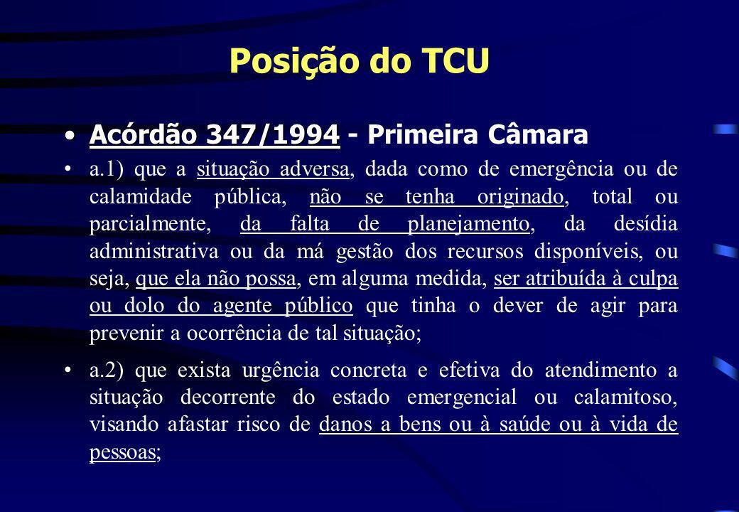 Posição do TCU Acórdão 347/1994 - Primeira Câmara