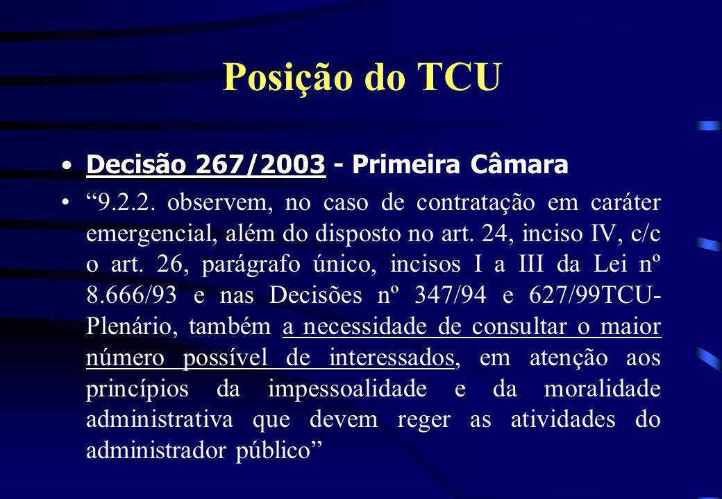 Posição do TCU Decisão 267/2003 - Primeira Câmara