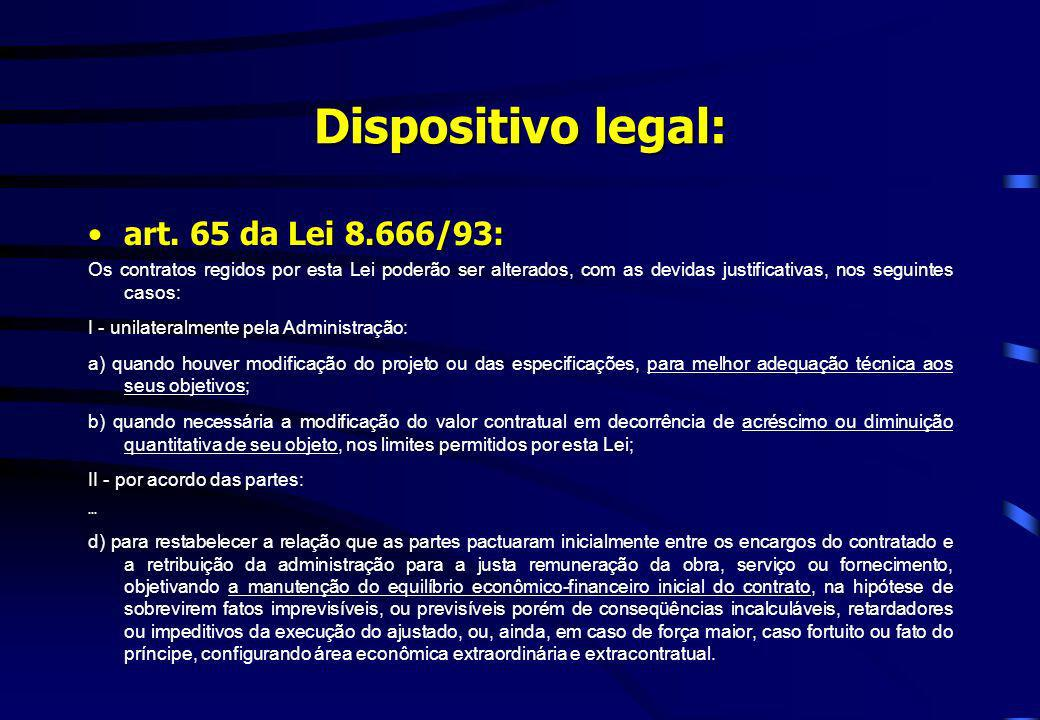 Dispositivo legal: art. 65 da Lei 8.666/93:
